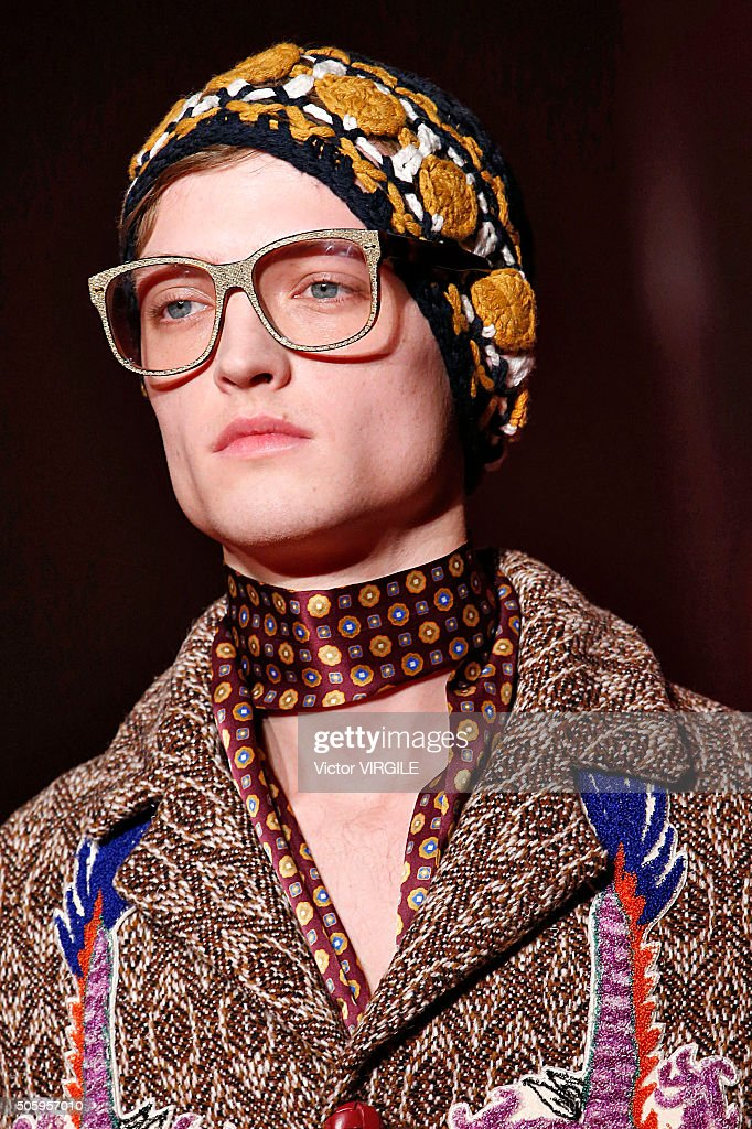 A model walks the runway at the Gucci show during Milan Men's Fashion Week Fall/Winter 2016/17 on January 18, 2016 in Milan, Italy.