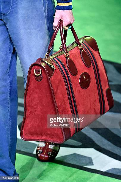 Model walks the runway at the Gucci show during Milan Men's Fashion Week Spring/Summer 2017 on June 20, 2016 in Milan, Italy.
