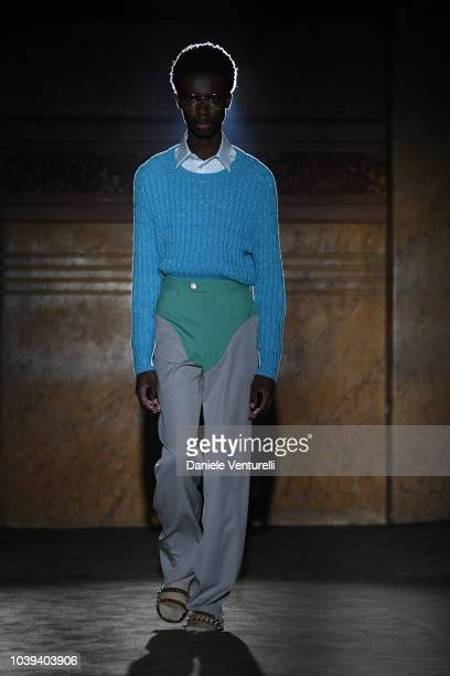 A models poses the stage at the Gucci show during Paris Fashion Week Spring/Summer 2019 on September 24 2018 in Paris France