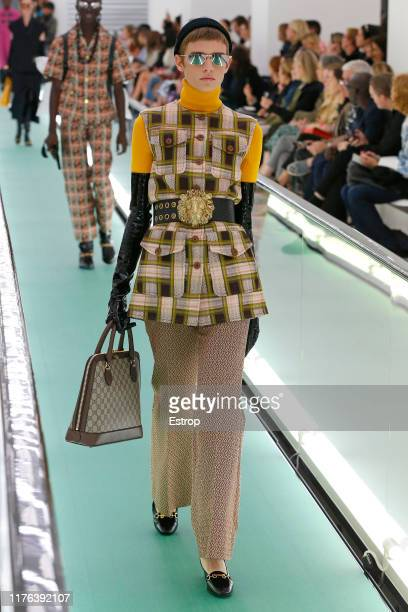 Model walks the runway at the Gucci show during the Milan Fashion Week Spring/Summer 2020 on September 22, 2019 in Milan, Italy.