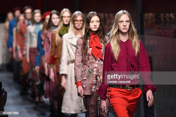 Model walks the runway at the Gucci show during the Milan Fashion Week Autumn/Winter 2015 on February 25, 2015 in Milan, Italy.