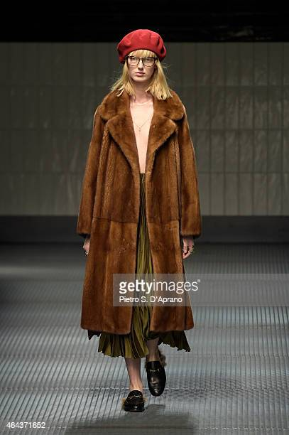 A model walks the runway at the Gucci show during the Milan Fashion Week Autumn/Winter 2015 on February 25 2015 in Milan Italy