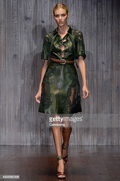 Model walks the runway at the Gucci Spring Summer 2015 fashion show during Milan Fashion Week on September 17, 2014 in Milan, Italy.