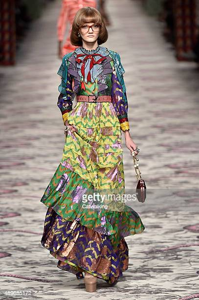 A model walks the runway at the Gucci Spring Summer 2016 fashion show during Milan Fashion Week on September 23 2015 in Milan Italy