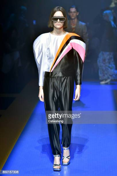 A model walks the runway at the Gucci Spring Summer 2018 fashion show during Milan Fashion Week on September 20 2017 in Milan Italy