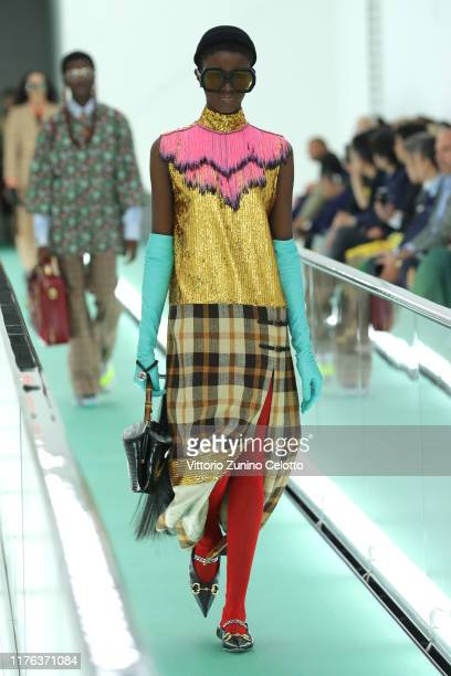 Model walks the runway at the Gucci Spring/Summer 2020 fashion show during Milan Fashion Week on September 22, 2019 in Milan, Italy.