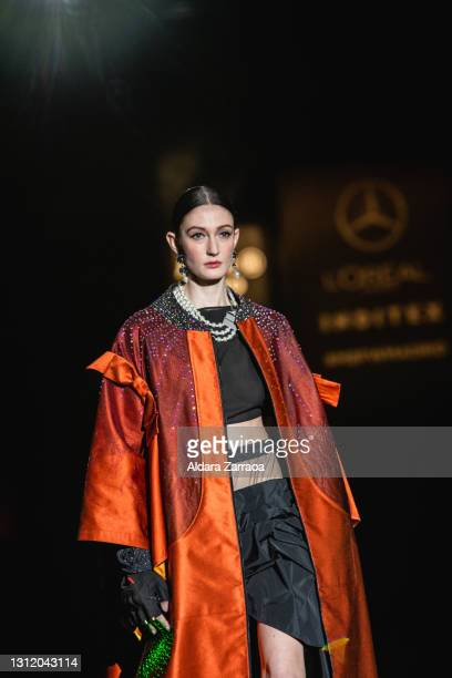 Model walks the runway at the Guillermo Décimo fashion show during Samsung EGO Mercedes Benz Fashion Week Madrid April 2021 at Ifema on April 11,...