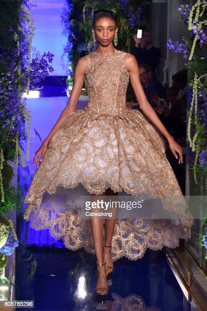 Model walks the runway at the Guo Pei Autumn Winter 2017 fashion show during Paris Haute Couture Fashion Week on July 2, 2017 in Paris, France.