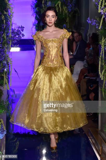 A model walks the runway at the Guo Pei Autumn Winter 2017 fashion show during Paris Haute Couture Fashion Week on July 2 2017 in Paris France