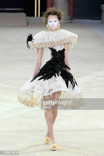 Model walks the runway at the Guo Pei show during Paris Haute Couture Fall/Winter 2019/2020 on July 3, 2019 in Paris, France.