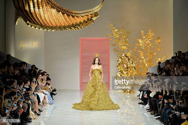 A model walks the runway at the Guo Pei Spring Summer 2016 fashion show during Paris Haute Couture Fashion Week on January 27 2016 in Paris France