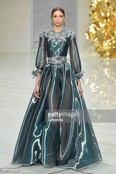 Model walks the runway at the Guo Pei Spring Summer 2016 fashion show during Paris Haute Couture Fashion Week on January 27, 2016 in Paris, France.