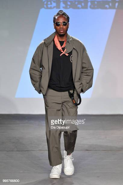 A model walks the runway at the Gustav Von Aschenbach fashion show during July 2018 New York City Men's Fashion Week at Industria Studios on July 10...