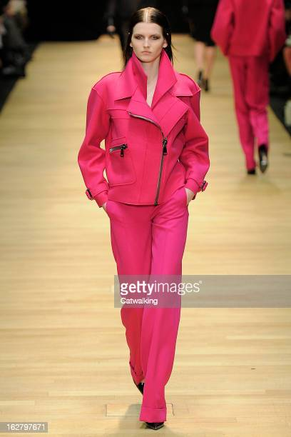 Model walks the runway at the Guy Laroche Autumn Winter 2013 fashion show during Paris Fashion Week on February 27, 2013 in Paris, France.
