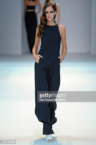 Model walks the runway at the Guy Laroche Spring Summer 2013 fashion show during Paris Fashion Week on September 26, 2012 in Paris, France.
