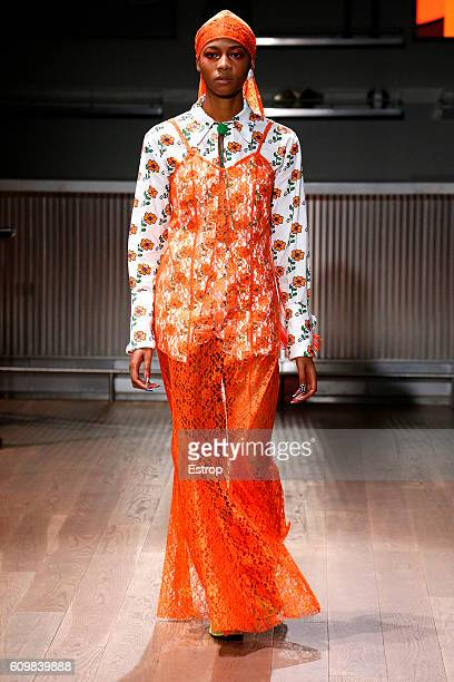A model walks the runway at the Gypsy Sport designed by Rio Uribe show at Samsung 837 on September 11 2016 in New York City