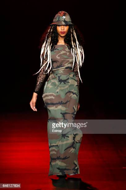 A model walks the runway at the Gypsy Sport designed by Rio Uribe show during the New York Fashion Week February 2017 collections on February 12 2017...