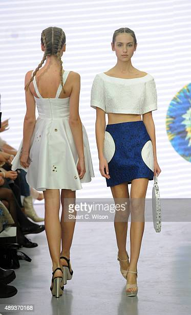 Model walks the runway at the Gyunel show during London Fashion Week Spring/Summer 2016/17 on September 20, 2015 in London, England.
