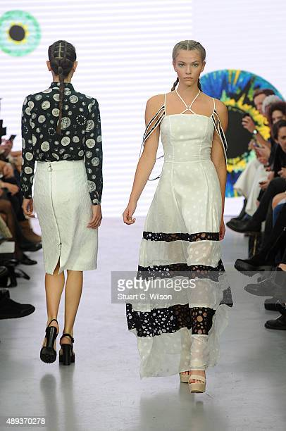A model walks the runway at the Gyunel show during London Fashion Week Spring/Summer 2016/17 on September 20 2015 in London England