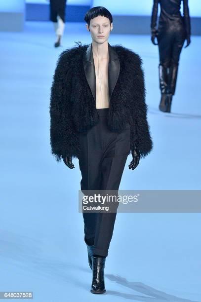 Model walks the runway at the Haider Ackermann Autumn Winter 2017 fashion show during Paris Fashion Week on March 4, 2017 in Paris, France.