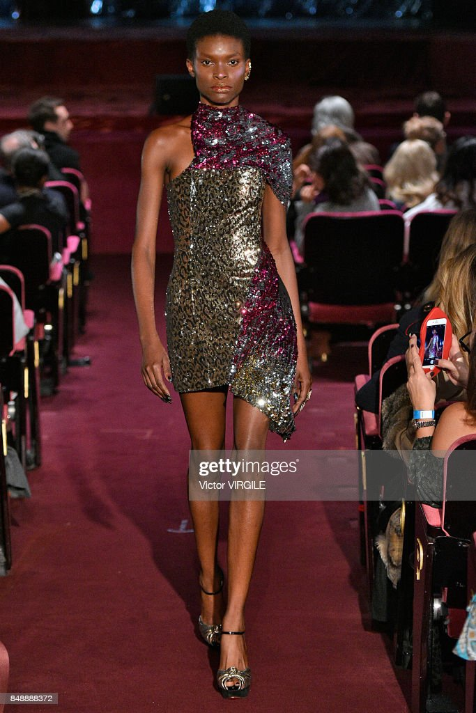 A model walks the runway at the Halpern Ready to Wear Spring/Summer 2018 fashion show during London Fashion Week September 2017 on September 16, 2017 in London, England.