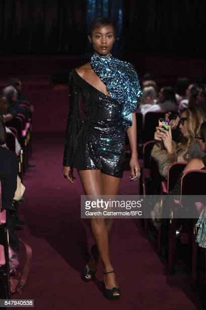 A model walks the runway at the Halpern show during London Fashion Week September 2017 on September 16 2017 in London England