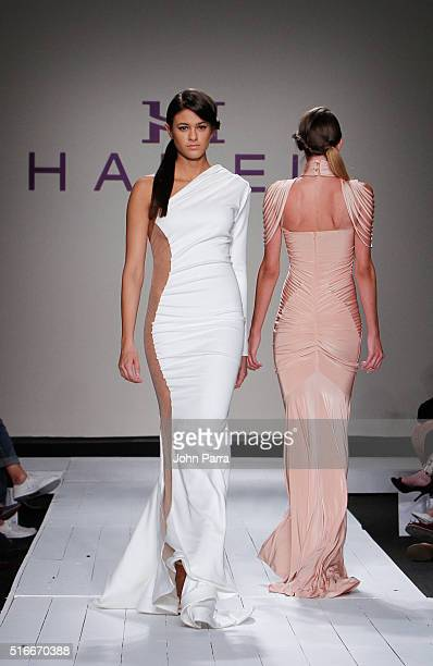 A model walks the runway at the HAMEL By Melina Harris At FUNKSHION Fashion Week Miami Beach at Studio 255 on March 19 2016 in Miami Florida