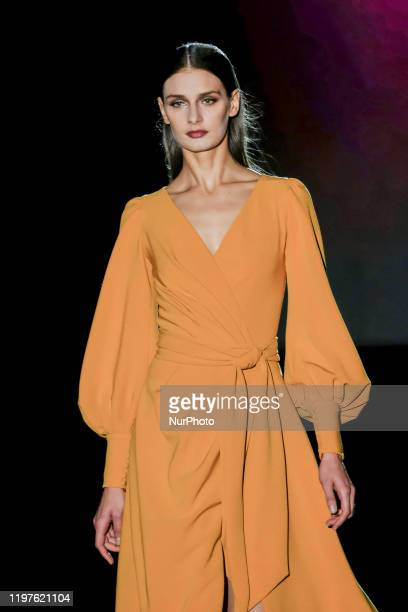 Model walks the runway at the Hannibal Laguna fashion show during Mercedes Benz Fashion Week Madrid Autumn/Winter 2020-21 at Ifema on January 30,...