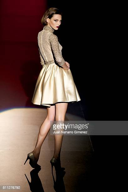 A model walks the runway at the Hannibal Laguna show during the MercedesBenz Madrid Fashion Week Autumn/Winter 2016/2017 at Ifema on February 19 2016...