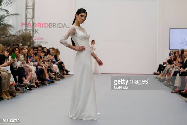 A model walks the runway at the Hannibal Laguna show during the Madrid Bridal Week 2018 at Palacio de Cibeles on April 18 2018 in Madrid Spain