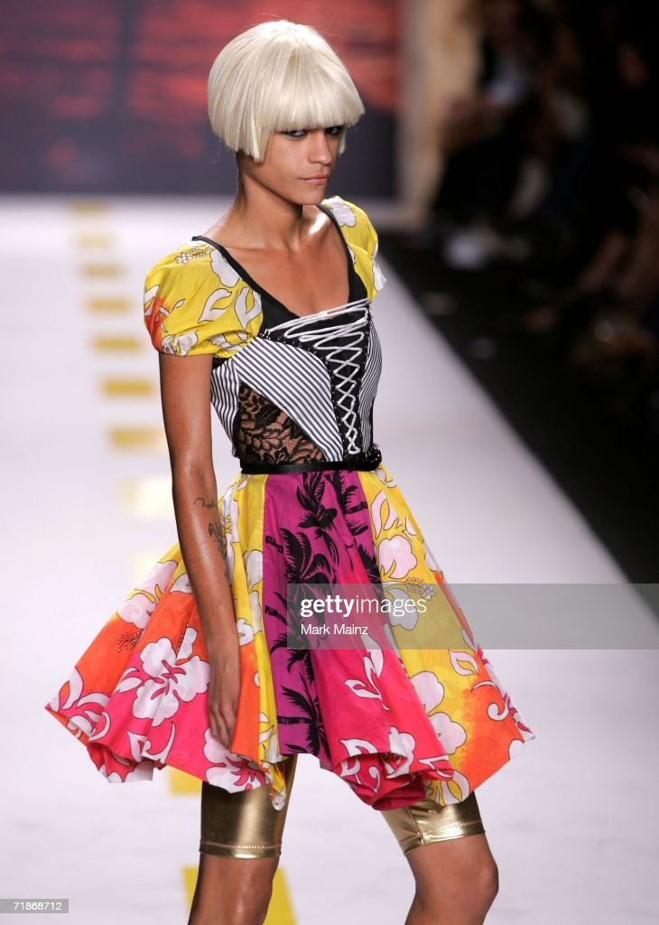 A model walks the runway at the Heatherette Spring 2007 fashion show during Olympus Fashion Week at the Tent in Bryant Park September 12, 2006 in New York City.