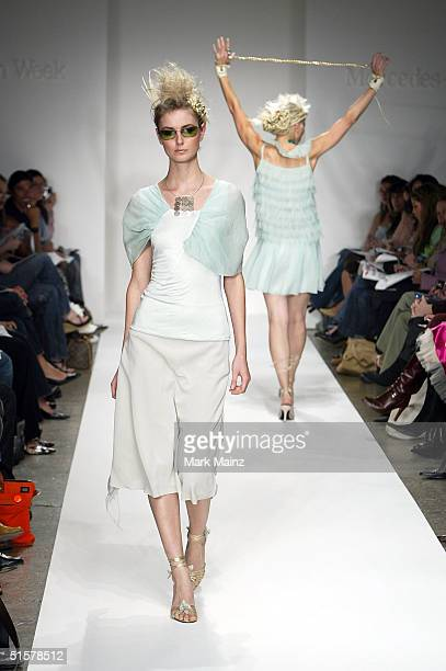 A model walks the runway at the Heike Jarick Collection Spring 2005 show at the MercedesBenz Fashion Week at Smashbox Studios October 26 2004 in...