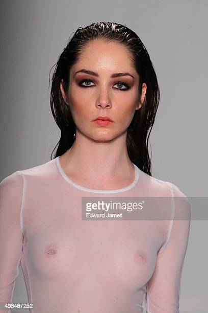 A model walks the runway at the Helder Diego Spring/Summer 2016 fashion show during World Mastercard fashion week on October 20 2015 in Toronto Canada