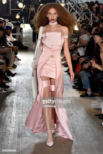A model walks the runway at the Helmut Lang Spring Summer 2018 fashion show during New York Fashion Week on September 11 2017 in New York United...