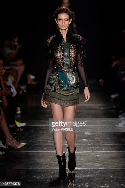 A model walks the runway at the Helo Rocha during the Sao Paulo Fashion Week Fall/Winter 2016 on October 21 2015 in Sao Paulo Brazil