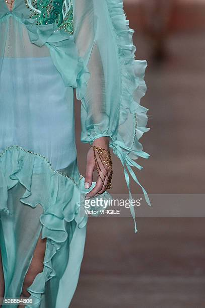 A model walks the runway at the Helo Rocha fashion show during the Sao Paulo Fashion Week Spring/Summer 20162017 on April 28 2016 in Sao Paulo Brazil