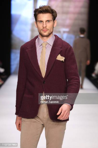 A model walks the runway at the Hemington show during MercedesBenz Istanbul Fashion Week at Zorlu Performance Hall on March 21 2019 in Istanbul Turkey