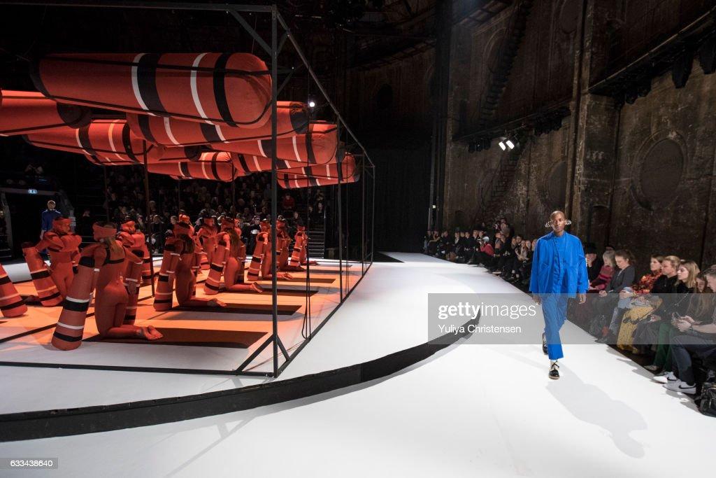A model walks the runway at the Henrik Vibskov show during the Copenhagen Fashion Week Autumn/Winter 17 on February 1, 2017 in Copenhagen, Denmark.