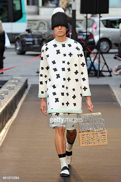 A model walks the runway at the Henrik Vibskov Spring Summer 2015 fashion show during Paris Menswear Fashion Week on June 27 2014 in Paris France