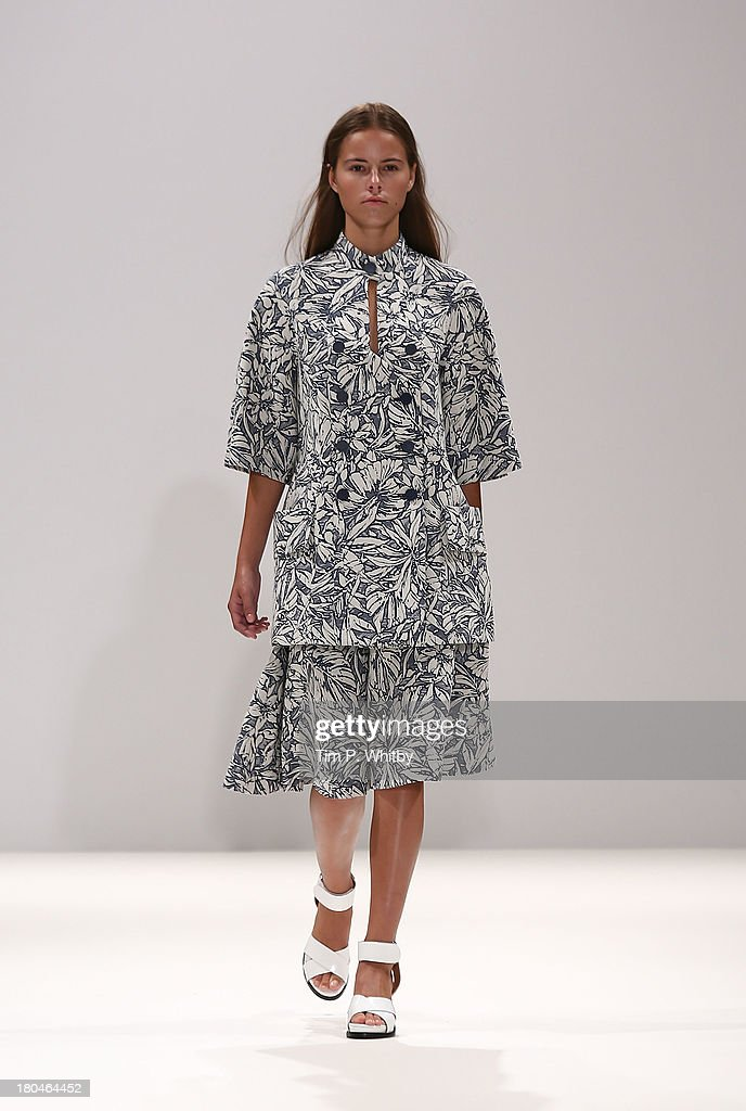 A model walks the runway at the Heohwan Simulation show at the Fashion Scout venue during London Fashion Week SS14 at Freemasons Hall on September 13, 2013 in London, England.