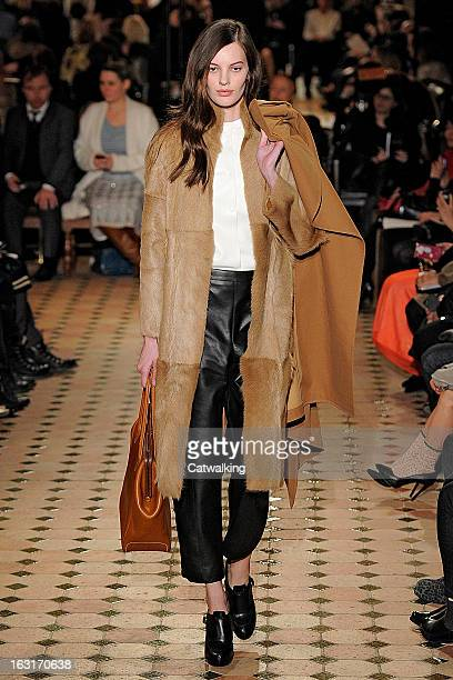 A model walks the runway at the Hermes Autumn Winter 2013 fashion show during Paris Fashion Week on March 5 2013 in Paris France