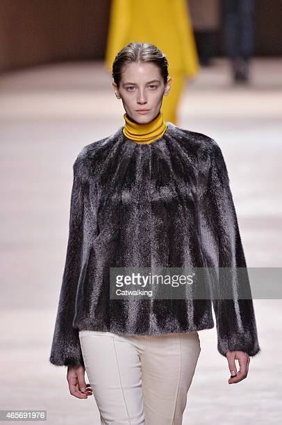 A model walks the runway at the Hermes Autumn Winter 2015 fashion show during Paris Fashion Week on March 9 2015 in Paris France