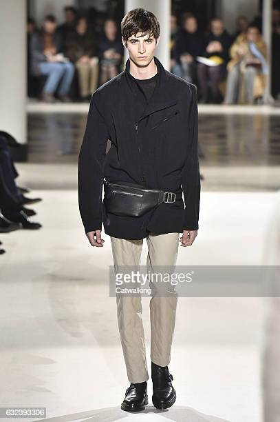 A model walks the runway at the Hermes Autumn Winter 2017 fashion show during Paris Menswear Fashion Week on January 21 2017 in Paris France