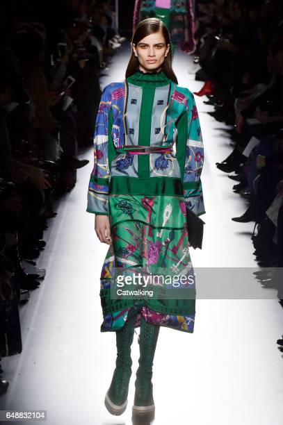 Model walks the runway at the Hermes Autumn Winter 2017 fashion show during Paris Fashion Week on March 6, 2017 in Paris, France.