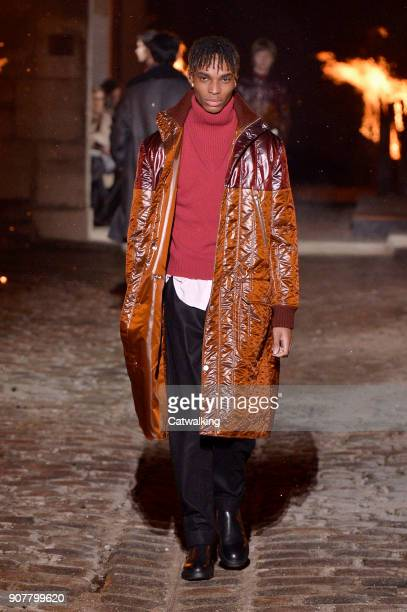 A model walks the runway at the Hermes Autumn Winter 2018 fashion show during Paris Menswear Fashion Week on January 20 2018 in Paris France
