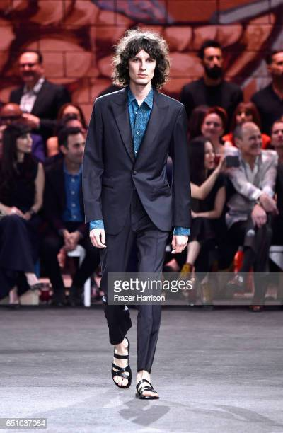 A model walks the runway at the Hermes Dwtwn Men s/s17 Runway Show on March 9 2017 in Los Angeles California
