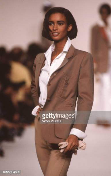 Model walks the runway at the Hermes Ready to Wear Spring/Summer 1991 fashion show during the Paris Fashion Week in October, 1990 in Paris, France.