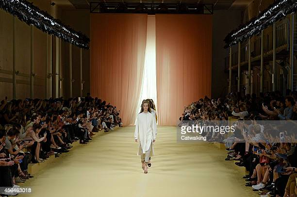 A model walks the runway at the Hermes Spring Summer 2015 fashion show during Paris Fashion Week on October 1 2014 in Paris France