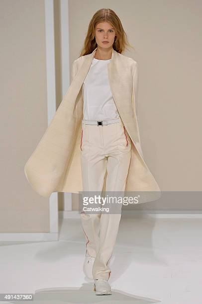A model walks the runway at the Hermes Spring Summer 2016 fashion show during Paris Fashion Week on October 5 2015 in Paris France