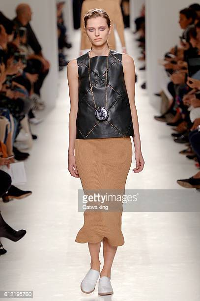 A model walks the runway at the Hermes Spring Summer 2017 fashion show during Paris Fashion Week on October 3 2016 in Paris France